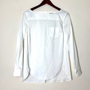 NWT LOFT  long sleeve white button back top S